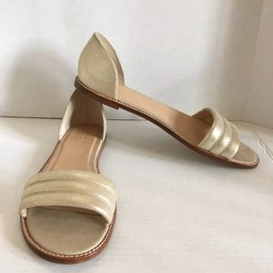 New NWOB J Crew gold suede Hayes sandals size 10